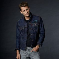 Levi's ® Nfl Denim Trucker Jacket - Carolina Panthers S Red Levis, Leather Men, Leather Jacket, Latest Mens Fashion, Men's Fashion, Fashion Boots, Fashion Rings, J Crew Men, Jacket Style