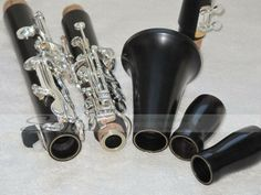 Auctiva Image Hosting Magnificent professional Clarinet Black wooden Silver plated 17 key Italian Pads