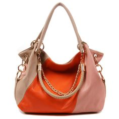 (FL003249) 2012 New Style Stitching Contrast Color Casual Shoulder Cross-body Hand Carry Fashion Beautiful Fashion Chain Handbag