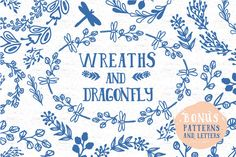 Wreaths and dragonfly + bonus by Anatartan Design on @creativemarket