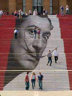 Salvador Dali portrait: Street Art / Museum of Art / Philadelphia 3d Street Art, Street Art Graffiti, Street Artists, Salvador Dali, Banksy, Performance Artistique, Graffiti Kunst, Stair Art, Urbane Kunst