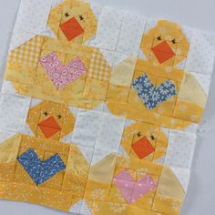 And here is my Baby Chick Block. I wanted my Mama Hen to have a big family so I drew up this group of chicks . They have big beaks and fat tummies - they're good eaters, and they have huge hearts full of joy and love . Scrappy Quilts, Mini Quilts, Baby Quilts, Owl Quilts, Quilting Projects, Quilting Designs, Sewing Projects, Baby Quilt Patterns, Paper Piecing Patterns