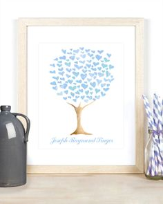 Baby boy personalized sweet heart family tree watercolor wall art print for nursery or kid's room baby shower new mom gift pale blue