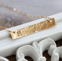 Gold Bar Necklace, Initial Necklace, Monogram, Small, Dainty, Hammered, Typewriter Font, Everyday Necklace, Mother's Necklace, 14k gold fill...