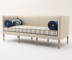 Cream & Blue Sofa: from www. Furniture Upholstery, Upholstered Furniture, Home Decor Furniture, Furniture Design, Sofa Design, Interior Design, Sofa Chair, Outdoor Sofa, Anthropologie
