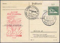 Germany, German Empire, Zeppelinpost, 30.07.1939, Karte von der Fahrt nach Kassel (Sieger-Nr.460) (Mi.-Nr.DR 670 EF/Bogenecke). Price Estimate (8/2016): 20 EUR. Unsold.