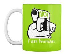 No! I Am Human Lime Green T-Shirt Front
