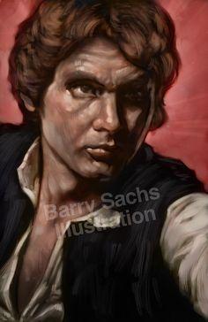 Han Solo Harrison Ford Star Wars 5x7 11x17 by BarrySachsBarryGood