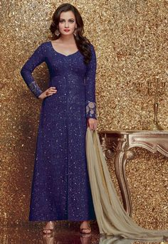 Dia Mirza Navy Blue Embroidered Suit