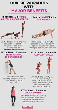 Workouts You Can Do in 5 Minutes or Less That Are Actually Effective http://www.womenshealthmag.com/fitness/quick-workout-moves-with-benefits
