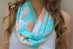 Eternity Scarf Infinity Scarf Mint Green Peach by PoePoePurses, $30.00