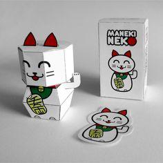 Maneki Neko Paper Toy by Kioshi Shimabuku, via Behance  en http://www.toydesignserved.com/