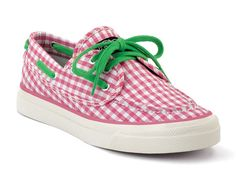 Pink gingham Sperrys with green laces, the perfect preppy shoes. :)