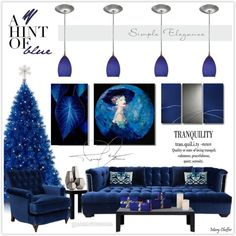 Christmas with a hint of blue by mcheffer on Polyvore featuring interior, interiors, interior design, home, home decor, interior decorating, Kim Salmela, Miles Talbott, Kartell and Cal Lighting