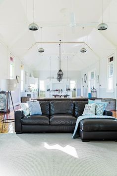Located in a small country town take a tour of this converted church hall, now an inspiring family home with a touch of shaker style. Palm Springs Style, Gabion Wall, Glass Extension, Shaker Style Kitchens, Pretty Bedroom, Old Farm Houses, Bold And The Beautiful, Kitchen Styling, Luxury Interior
