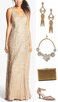 Bridesmaid Looks You'll Love - Glitzy gold http://www.theperfectpalette.com/2015/01/bridesmaid-looks-youll-love-with.html