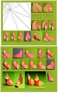 Origami Santa Claus Very Merry Christmas, Christmas Crafts For Kids, Xmas Crafts, Christmas Diy, Paper Crafts Origami, Cardboard Crafts, Oragami, Origami Dolphin, Origami Santa Claus