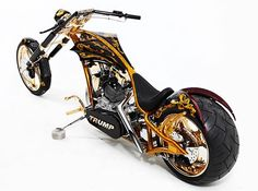 Donald Trump loves luxury and gold and that's exactly why Paul Sr. from Orange County Choppers built a custom gold chopper for the billionaire on the latest episode of 'American Chopper: Senior vs Junior'. Occ Choppers, Custom Choppers, Custom Harleys, Custom Motorcycles, Custom Bikes, Triumph Motorcycles, Orange County Choppers, American Chopper, Moto Chopper