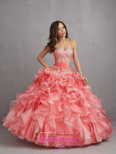 watermelon red quinceanera dress