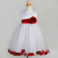 Fashionably Yours - Cinderella Flower Girls Dress White with Red Petals From