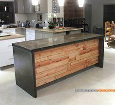 Charcoal polished concrete kitchen island | wood insert brings great balance projects@floatdesign.co.za