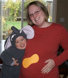Pregnant halloween costume with toddler