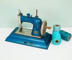 1940s Casige Bright Blue Hand Crank Toy Sewing Machine, Made in Germany British Zone