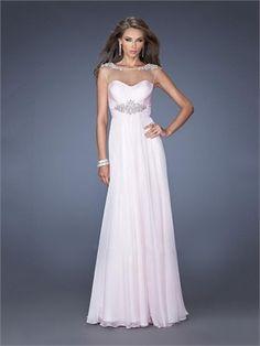 A-line Beadings Floor Length Chiffon Prom Dress PD2679