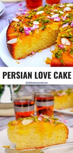 Persian love cake is moist spongy and will enchant you with its exotic flavors of rose cardamom saffron. Luxuriously packed with almonds and sprinkled with pistachios it is so easy to make! Great recipe for a traditional dessert to serve for holidays Cupcakes, Cupcake Cakes, Mini Cakes, Just Desserts, Delicious Desserts, Yummy Food, Love Cake Recipe, Rose Water Cake Recipe, Persian Desserts