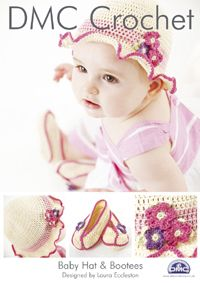 Items similar to DMC Crochet Pattern 14891 ~ Baby Girls Sun Hat or Beach Hat. Plus Matching Bootees. months on Etsy Crochet Baby Hat Patterns, Easy Knitting Patterns, Crochet Baby Hats, Baby Patterns, Crochet Yarn, Crochet Hooks, Baby Knitting, Crochet Crafts, Crochet Girls