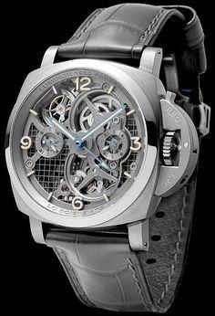 La Cote des Montres : La montre Panerai Lo Scienziato Luminor 1950 Tourbillon GMT Titanio – 47mm - Réf. : PAM00578 - Le secret de sa légèreté se trouve dans l'ingénieux travail de miniaturisation