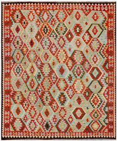 """KILIM HERAT 289x253. Alfombra Kilim Herat. Kilim Herat. Kilim anudado a mano con lana autóctona por las tribus """"turkemanas"""" en el norte de Afganistán. Los diseños utilizados son bellas estilizaciones de formas tradicionales como el """"boteh"""", octogonos, rombos engarzados... Kilims, Lana, Bohemian Rug, Quilts, Blanket, Rugs, Decor, Kilim Rugs, Punto De Cruz"""