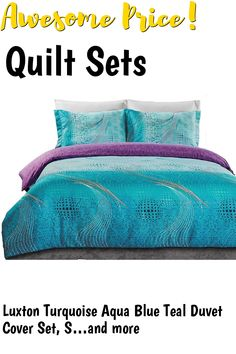 Luxton Turquoise Aqua Blue Teal Duvet Cover Set, Super Soft 3 Piece Comforter Cover Quilt Cover Set (King Size) ... (This is an affiliate link) #quiltsets