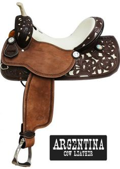 Showman™ Barrel Style Saddle with Argentina Cow Leather. This saddle features white leather on skirts, pommel and cantle accented with filigre. Western Horse Tack, Western Riding, Western Saddles, Western Show Clothes, Barrel Saddle, Tack Sets, Horse Supplies, Horse Accessories, Blue Roan