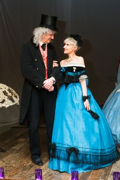 The 21st century's most elegant Victorian couple - Anita Dobson & Brian May - at the launch of Crinoline: Fashion's Most Magnificent Disaster at Sands Films Studio.