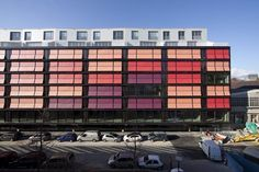 architecture, pink/red/salmon colorful Facade