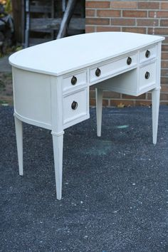 Primitive & Proper: A Curved Vintage Sligh Desk; old white over graphite (to hide ugly old yellow finish) lightly distressed