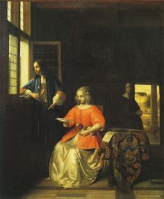 Pieter de Hooch (Dutch, 1629-1684) - A Woman Reading a Letter and a Man at a Window, 1668-1670