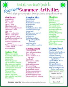 Work at Home Mom kids summer checklist! Keep kids busy while mom works!