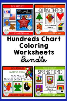 """Students simply read a number, identify it on the chart, color according to the code and ta-da! Your students create a fun themed pictures!  These """"coloring surprises"""" are great for early finishers, math tub work and reinforcing number identification! Kindergarten Lesson Plans, Preschool Kindergarten, Christmas Language Arts, Christmas Math, Hands On Activities, Math Activities, Hundreds Chart, First Year Teachers, American Symbols"""