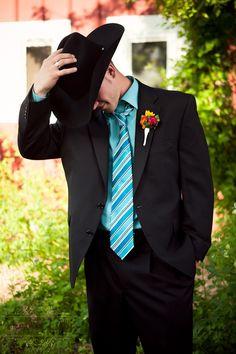 √This is the perfect attired for a western groom. via www.HeatherLilly.com #CowboyHat #Cowboy #Tuxedo #WesternWedding #CountryWedding