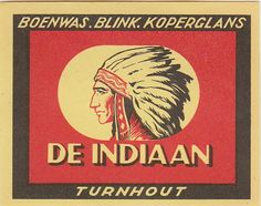 Vintage match box label with Native American Indian chief profile.
