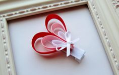 Red, Pink & White Valentine's Day Heart Ribbon Sculpture Hair Bow - Red, Pink and White - Cute Valentine Gift Idea or Party Favor Ribbon Hair Clips, Ribbon Hair Bows, Diy Hair Bows, Hair Bow Tutorial, Ideias Diy, Ribbon Sculpture, Making Hair Bows, Diy Bow, Valentines Day Hearts