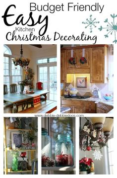 Budget friendly and easy Christmas kitchen decorating ideas. #debbiedoos
