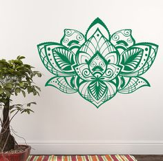 "Lotus Wall Vinyl Decal Namaste Sticker Lotus In Indian Style Mandala Bohemian Boho Lotus Decor For Home Bedroom Yoga Studio ✦ Available sizes (approximate):  Please note that images may not reflect exact size.  22"" tall x 29"" wide  28"" tall x 37"" wide  32"" tall x 42"" wide  38"" tall x 50"" wide If you need a different size, please feel free to ask. Prices may vary.  ✦ Choose the color of your decal from our color chart shown in last image of this listing. And leave the message during check…"