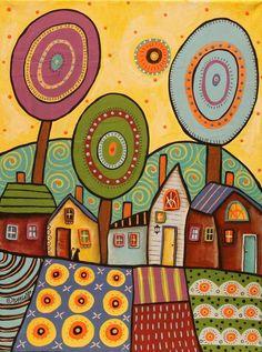 Village Gardens 12x16 ORIGINAL CANVAS PAINTING cat houses FOLK ART Karla Gerard #FolkArtAbstractPrimitive