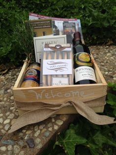 Welcome basket for wine tasting guests