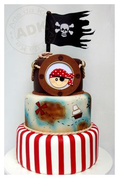tiered pirate birthday cake skull and crossbone jolly roger Baby Cakes, Bolo Jake, Fondant Cakes, Cupcake Cakes, Cupcake Party, Beautiful Cakes, Amazing Cakes, Pirate Birthday Cake, Pirate Cakes