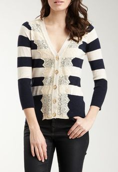 Charlotte Tarantola Stripe & Lace Cardigan- bet this add on to any cardigan would be easy to do