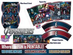 Super Party Kit The Avengers Ironman Hulk Thor por Printnfun, €18.00 #avengers #avengerspartykit #avengersprintables #avengersparty
